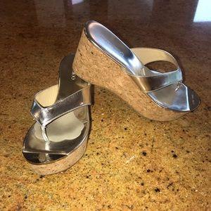 Jimmy Choo metallic silver wedge sandal